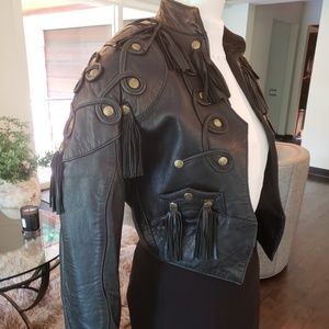 Black Leather Fringe Jacket -  Small
